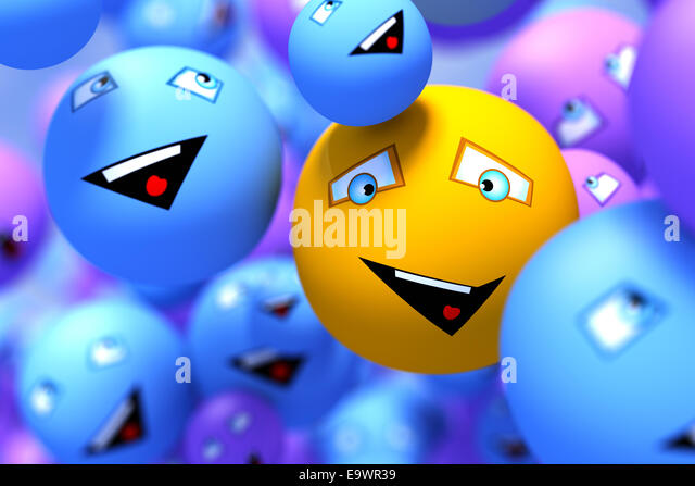 One positive emoticon among other - Stock Image