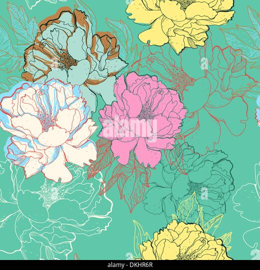 vector floral seamless pattern with abstract blooming roses - Stock Image