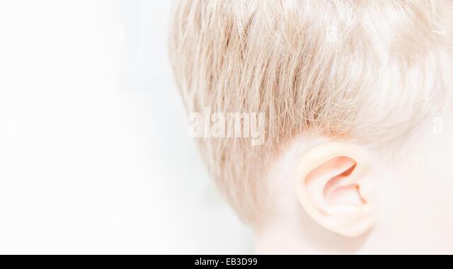Close-up view of boy's head - Stock-Bilder