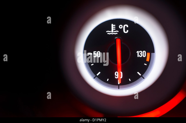 Temperature gauge at 90 degrees centigrade. - Stock Image
