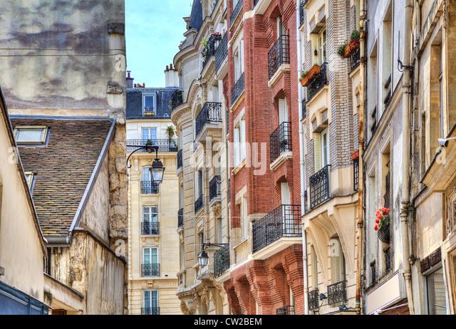 Traditional parisian residential buildings. Paris, France. - Stock Image