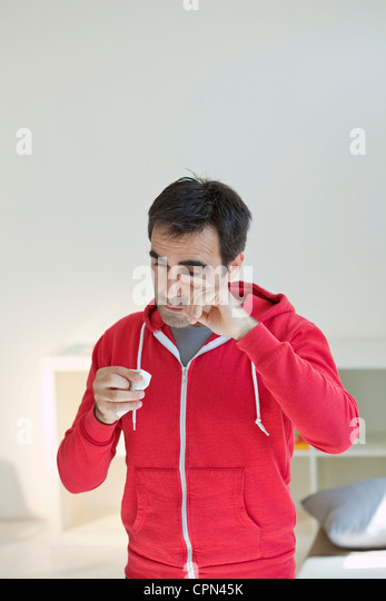 ALLERGY, MAN - Stock Image