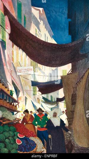 Via Vittorio Emanuele, Alasio, Italy, circa 1916 - Stock Image