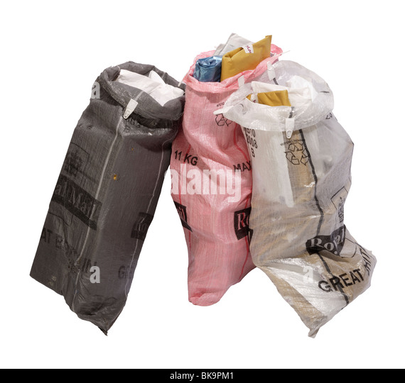 Post or mail bags filled with parcels / packets for delivery - Stock Image