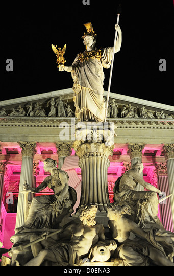 Pallas Athena, stone figure, Vienna, stands in front of the Austrian parliament - Stock Image
