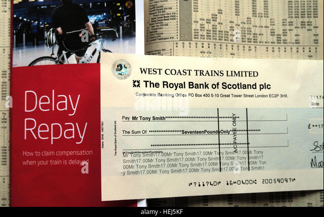 Cheque for Delay Repay West Coast Trains Virgin,compensation for late rail journey - Stock Image