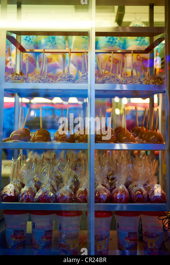 candy apples at the carnival - Stock Image