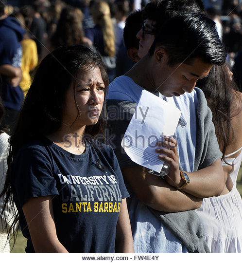UCSB students attend a memorial event for the six UCSB students killed and 13 wounded in a shooting rampage in the - Stock Image