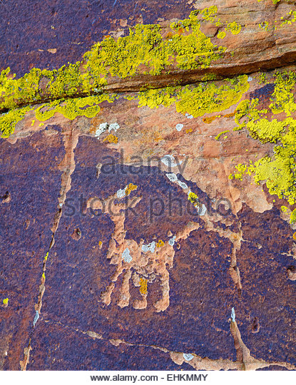 Sinagua culture petroglyph, near Montezuma Well. Coconino National Forest, Arizona. - Stock-Bilder