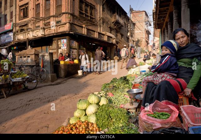Vegetable seller, Bhaktapur, Nepal, Asia - Stock Image