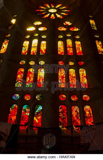 Interior of La Sagrada Familia in Spain - Stock Image