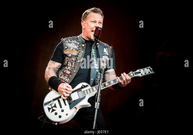 Metallica performing live on stage at the Rockavaria Festival 2015 - Stock Image