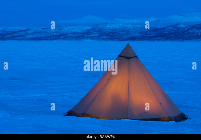 Winter camp in minus 40 degrees - Stock Image