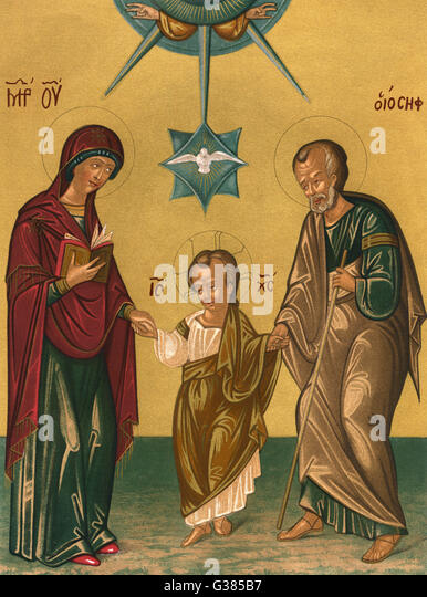 THE TRINITY - above, unseen, God the Father,  below, with his Earthly  parents, Jesus ; and, between  them, the - Stock Image