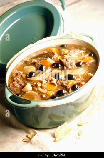 pork stew with olives and onions - Stock Image