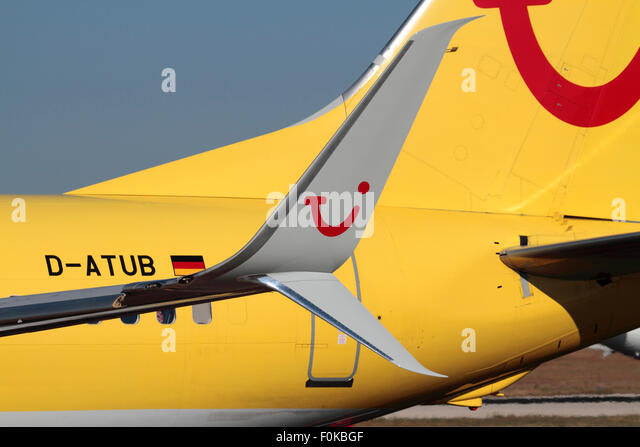 Technology in commercial aviation. Close-up of the split scimitar winglet on a TUIfly Boeing 737-800 - Stock Image