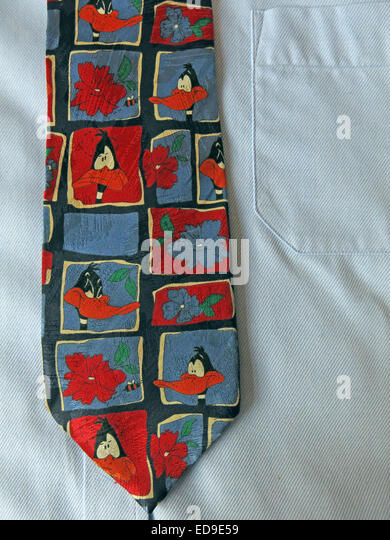 Interesting vintage Daffy Duck cartoon tie, male neckware in silk - Stock Image