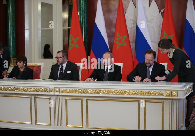 Moscow, Russia. 15th Mar, 2016. The minister delegate for the environment to Morocco's minister of energy, mining, - Stock Image
