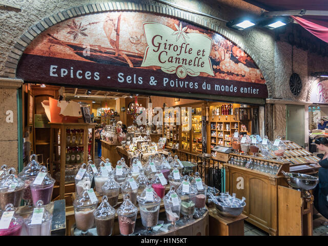 Salt and Pepper Shop,  Spices, Market Stall, Vieux Nice, Alpes Maritimes, Provence, French Riviera, Mediterranean, - Stock Image