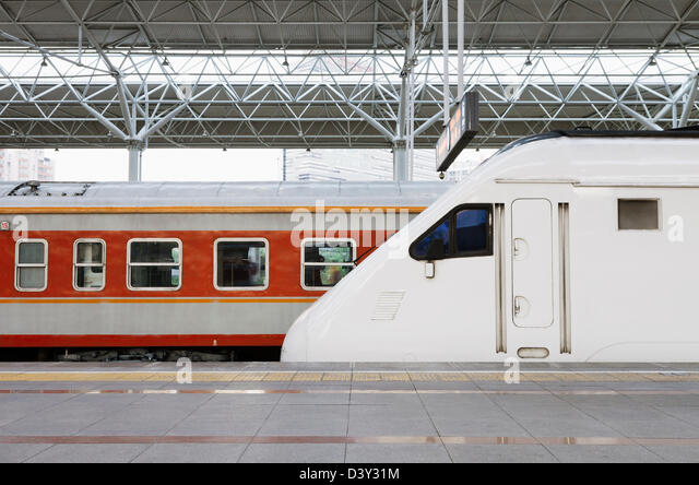 High speed train in station - Stock Image