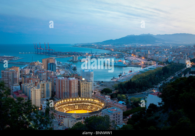 Spain Barcelona Catalonia Night water harbour port boats bullfight arena arena Andalusia Spain traveling tourism - Stock-Bilder