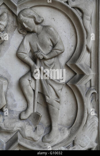 Relief. Genesis. Adam digging the land.13th c. Base of the portal of the Upper Chapel. La Sainte-Chapelle, Paris, - Stock Image