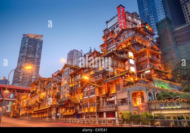 Chongqing, China at Hongyadong traditional district. - Stock-Bilder
