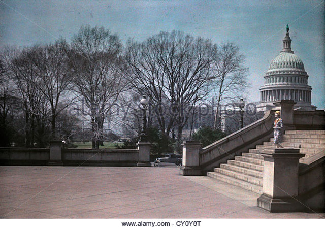 A woman on the steps of the Library of Congress near the Capitol. - Stock-Bilder