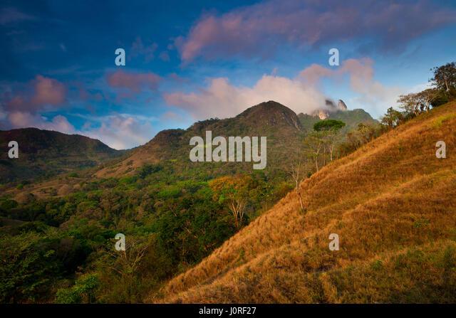 Early morning in Altos de Campana National Park, Republic of Panama. In the far background (right) is Cerro Trinidad. - Stock-Bilder