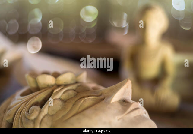 Manufacturing traditional indonesian wooden theatre mask - Stock Image