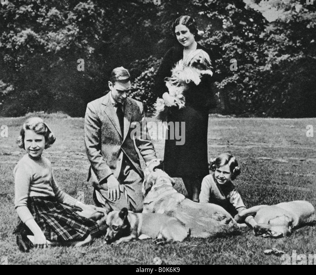 Royal family as a happy group of dog lovers, 1937. Artist: Michael Chance - Stock-Bilder
