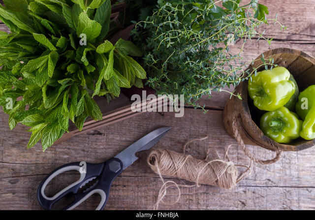 Fresh herbs ,bell pepper ,scissors on wooden background - Stock Image
