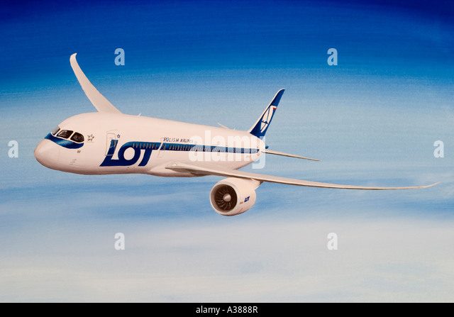 Boeing 787 Dreamliner in LOT Polish Airlines livery. - Stock Image
