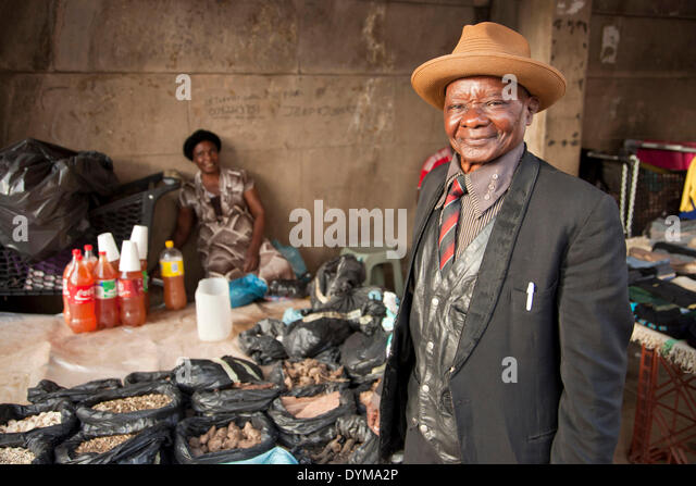 Seller at the market, Johannesburg, Gauteng, South Africa - Stock Image