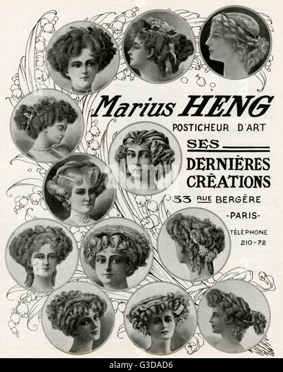 Latest creations for Marius Heng, hair styles with accessories.     Date: 1909 - Stock-Bilder
