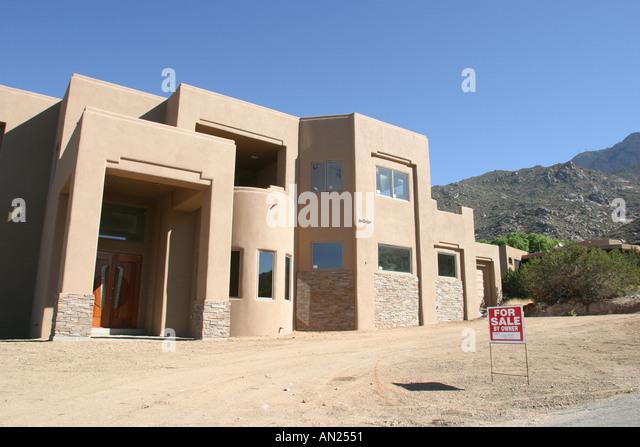 Albuquerque New Mexico Sandia Heights adobe style mansion high desert W - Stock Image