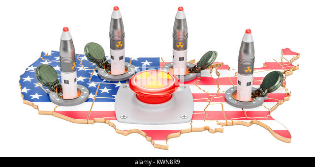 American nuclear button concept. USA missile launches from its underground silo launch facility, 3D rendering - Stock Image