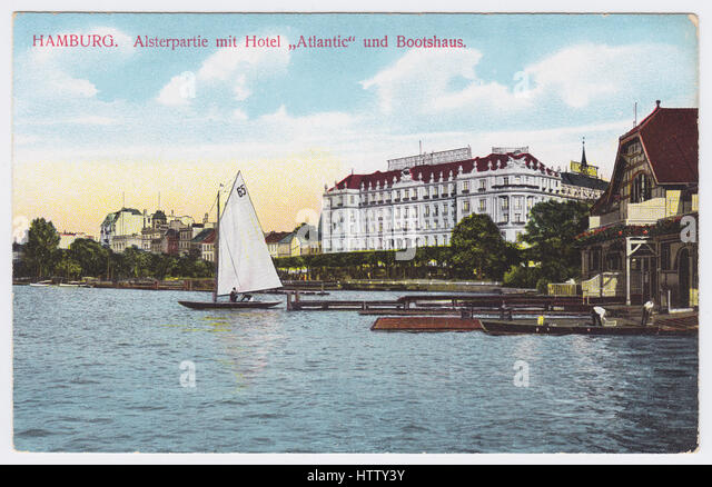 Hotel Atlantic & Alster Lake, Hamburg, Germany - Stock Image