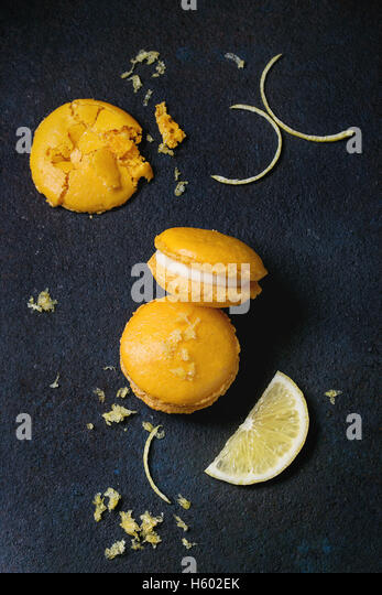 Citrus macaroons with white chocolate - Stock Image