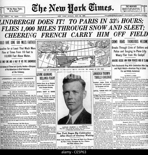 Charles lindbergh flight stock photos charles lindbergh for New york to paris flights