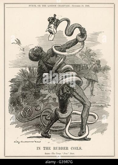 King Leopold II, King of the Belgians, crushes the Belgian Congo, 'in the rubber coils'  a reference to - Stock-Bilder