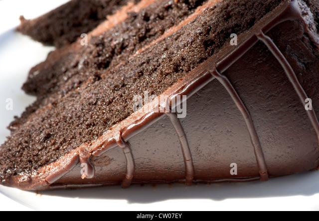 Triple layer chocolate cake at the Haunted Hamburger restaurant, Jerome, Arizona - Stock Image