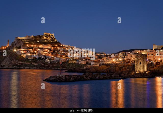 Italy Sardinia Castelsardo at twilight - Stock Image