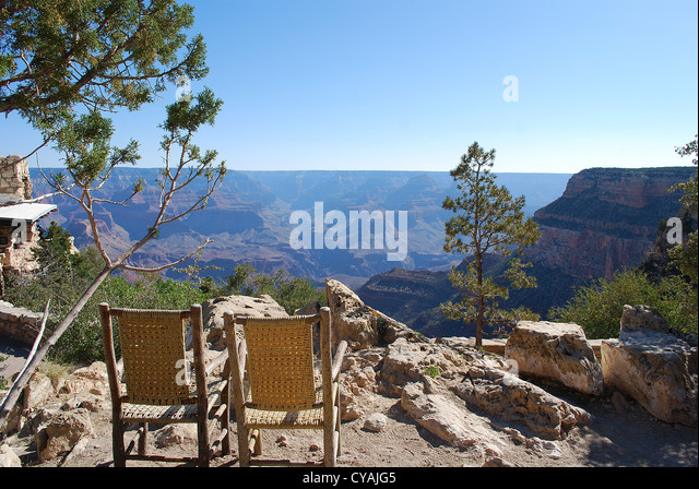 Chairs Outside Rental Cabins With A South Rim View Of The Grand Canyon.    Stock