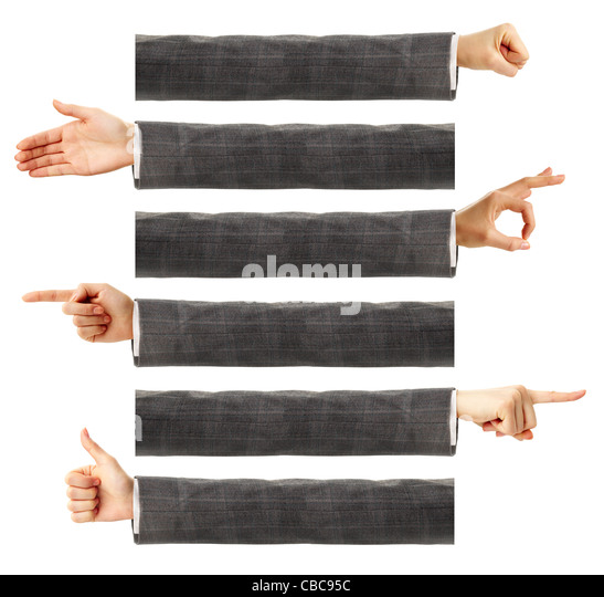 Creative image of human hands showing different gestures - Stock Image