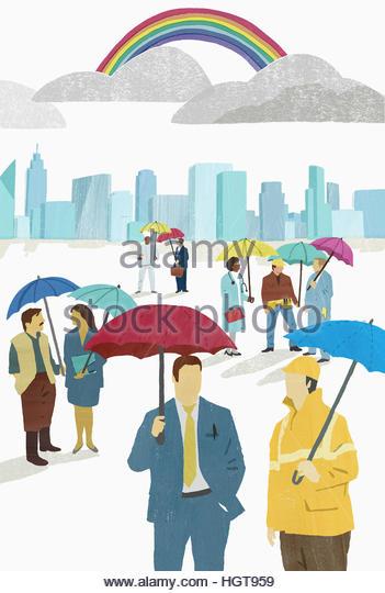 People from various occupations sheltering under umbrellas - Stock-Bilder
