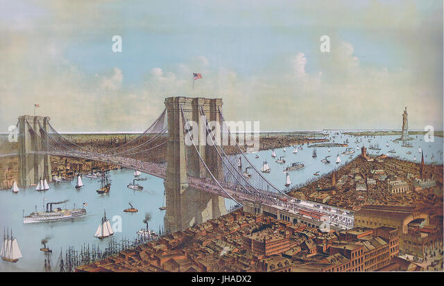 BROOKLYN BRIDGE  An 1892 print by Currier & Ives - Stock Image