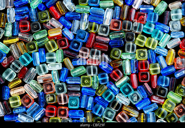 glass beads for beading and jewelry making - Stock Image