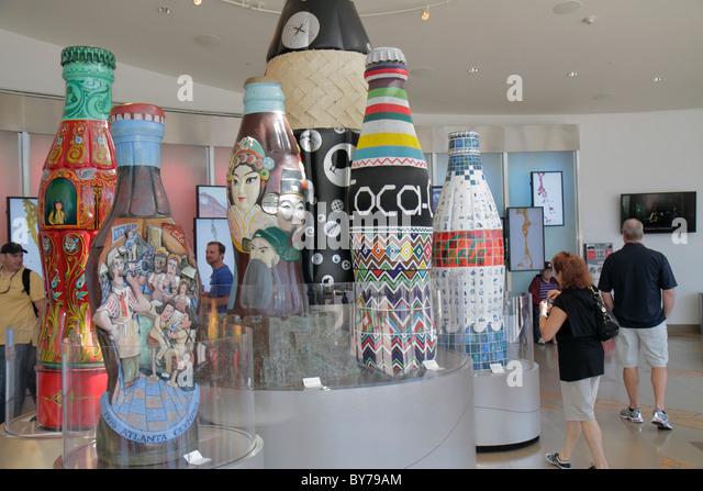 Atlanta Georgia World of Coca-Cola Pemberton Place company museum exhibition American icon tour lobby decorated - Stock Image