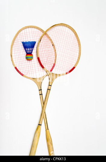Two rackets for badminton - Stock Image